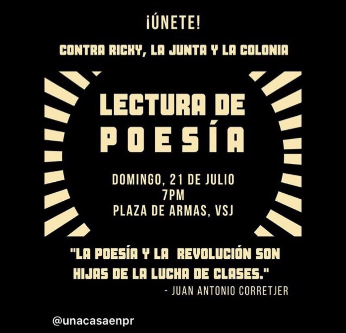 Poets are gathering tomorrow (Sunday) to protest in Puerto Rico. Join us/RT! #RickyRenuncia<br>http://pic.twitter.com/i0D2OKvf6o
