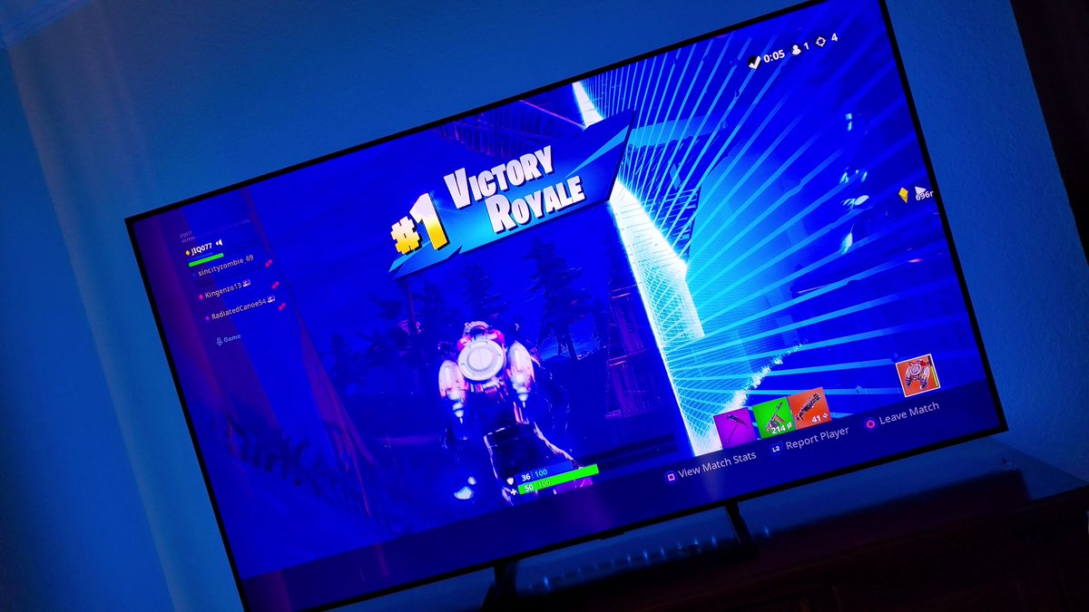 Been a while since I've played #fortnite Looks like I still got it!! Victory Royale Baby!!! Playing with the @SamsungMobileUS #GalaxySkin on my beautiful @Samsung TV! #withGalaxy #GalaxyNote9 <br>http://pic.twitter.com/uLJMWeH6Wc
