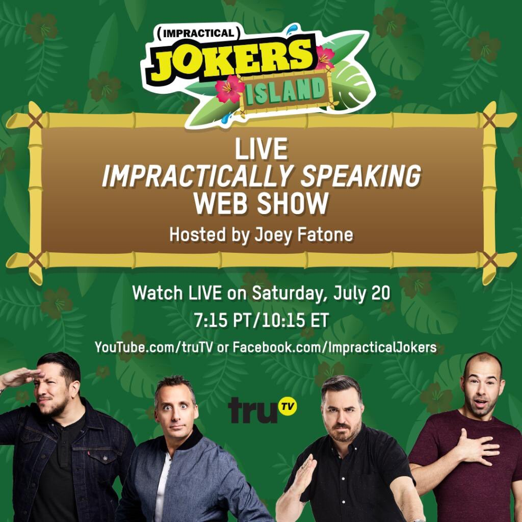 Couldn't make it to San Diego for #JokersIsland? We're bringing the party to you! Watch the @truTVjokers Impractically Speaking web show LIVE on Facebook or YouTube now!  https://www. facebook.com/ImpracticalJok ers/videos/2137123456584876?sfns=mo   …   https:// youtu.be/I4MHkKz5tD4     <br>http://pic.twitter.com/rpyrsogAj2
