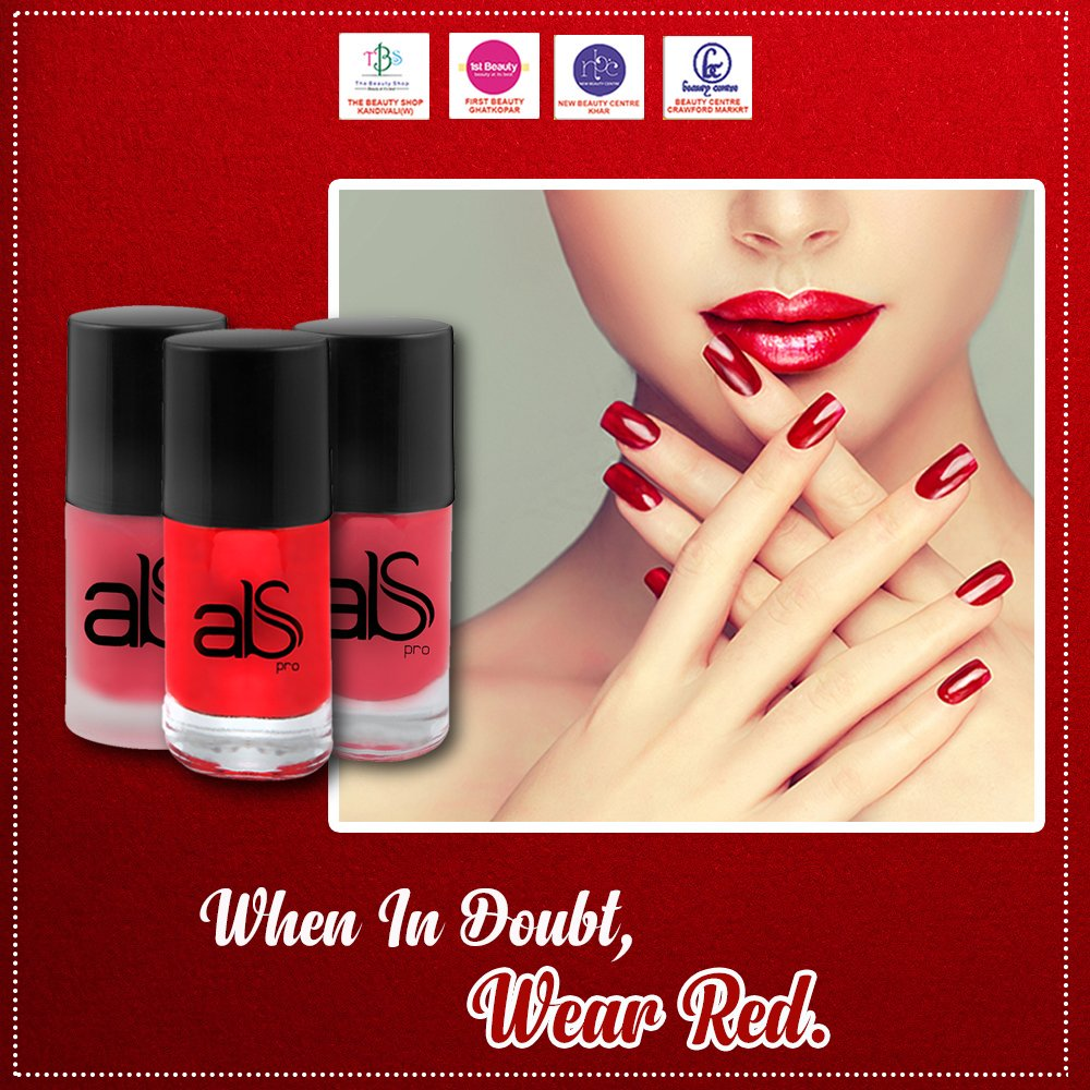 There is a shade of red for everyone! Get the perfect red shade for you from ABS Pro, available at New Beauty Centre, Beauty Centre, 1st Beauty and The Beauty Shop.  #Red #ShadesOfRed #PerfectRed #RedForEveryone #Tuesday #TuesdayVibes #NailSwagg #Nbc