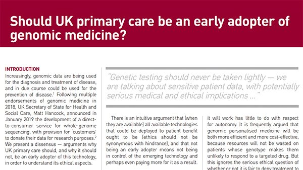 Should UK primary care be an early adopter of genomic medicine? http://ow.ly/fgxU30p422k