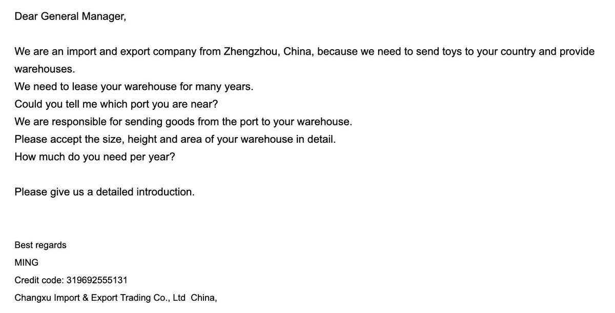 Received this through our company's email. 🤔 -- a quick Google search led me here: chinesecompanycheck.wordpress.com/2018/10/01/com…