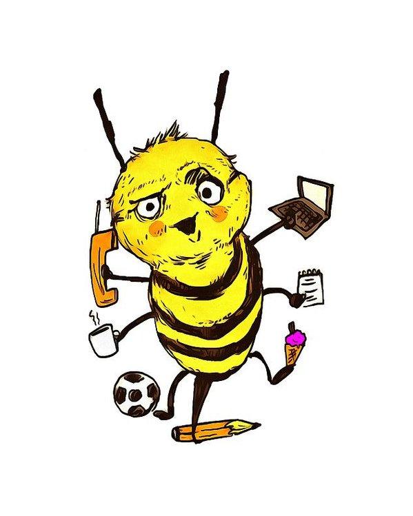 Надписью, рисунки смешные пчел