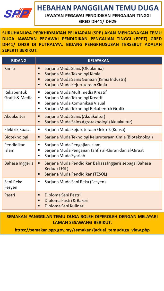 Spp Malaysia On Twitter Hebahan Umum Panggilan Temu Duga Jawatan Pegawai Pendidikan Pengajian Tinggi Gred Dh41 Dh29