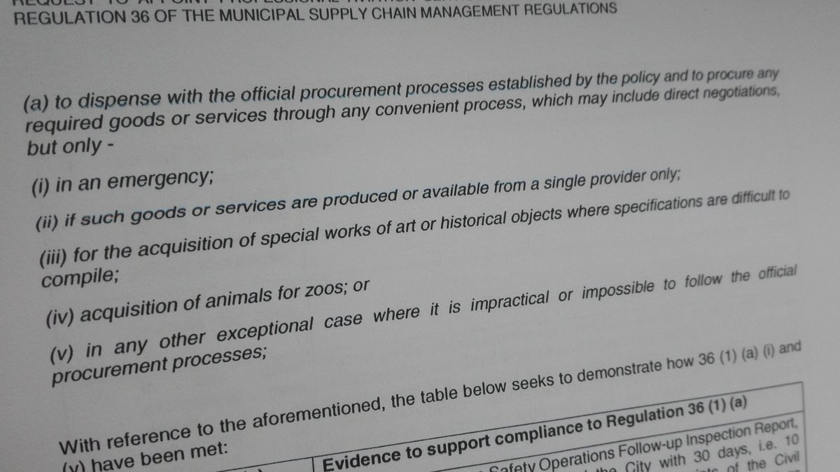 Regulation 36 of the municipal supply chain management regulations, MFMA. Aka every tenderpreneur's best friend. License to loot. How to get away with murder - a looter's guide. Loophole of loopholes. Oh, the stories this clause could tell. <br>http://pic.twitter.com/lJ5N70L2aB