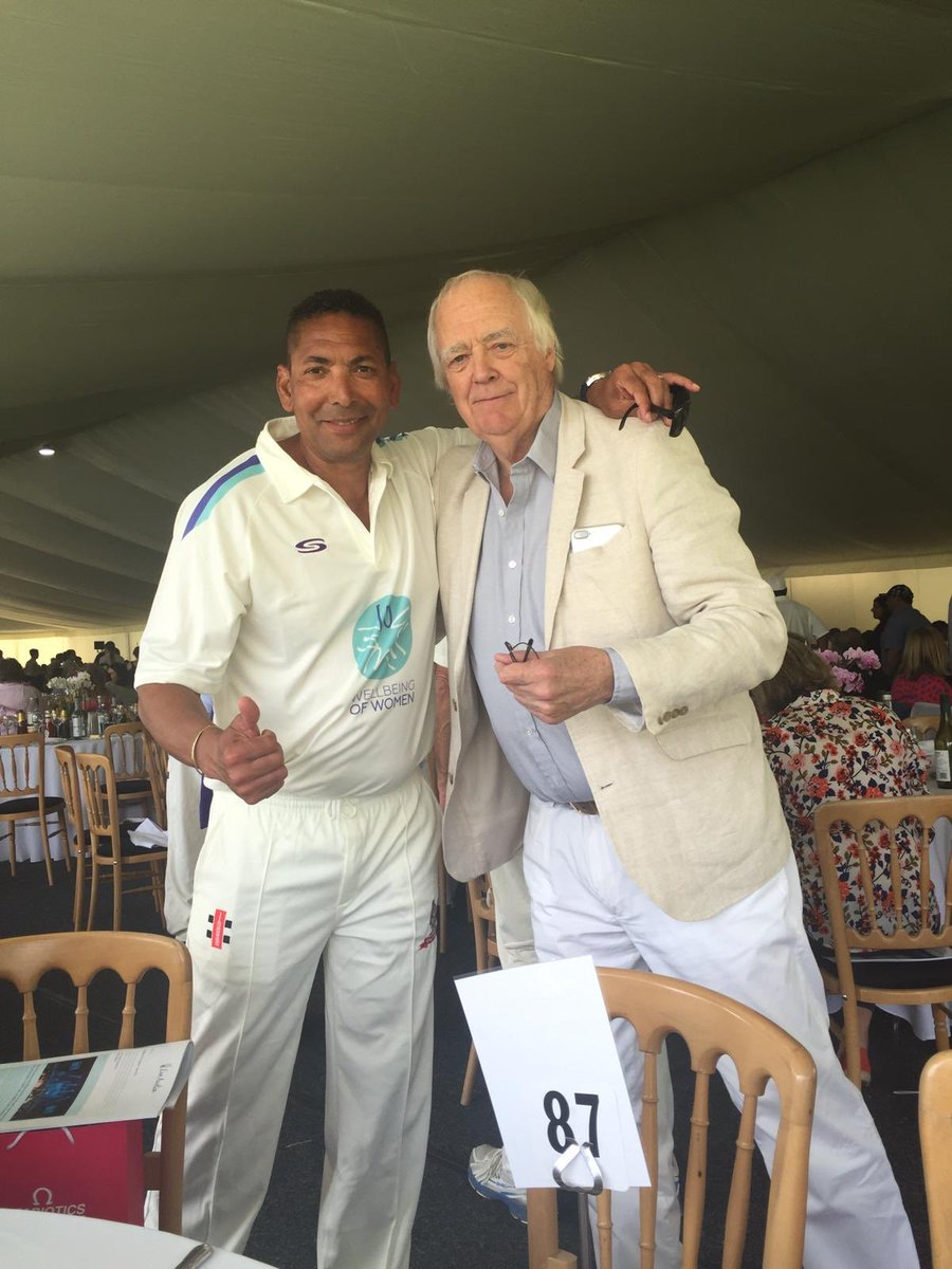 A magical day with family and friends at Sir Victor Blanc charity cricket match supporting @WellbeingofWmen  # @KumarSanga2 @MahelaJay @7polly7 @thecompdog @DGoughie @mj_slats @Sdoull @BrianLara @mcjnicholas @Athersmike @SirTimRice