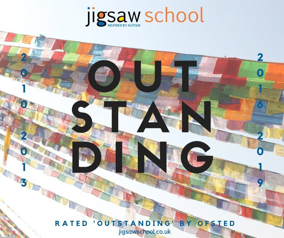 "#ProudOf...Jigsaw School has once again been rated OUTSTANDING by Ofsted. Thank you & congratulations to our staff who ""...teach with warmth, professionalism & good humour, & establish strong & trusting relationships with their pupils."" d#InspiredByAutism http://wu.to/5Oaggv"