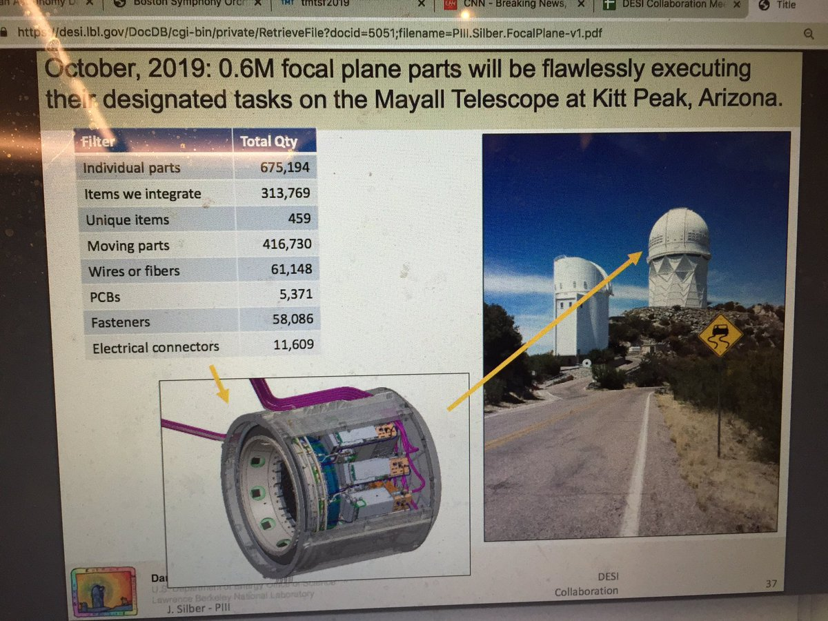 Joe Silber told us that @desisurvey requires 675,000 (!) focal plane parts to work flawlessly on Mayall at @NOAONorth