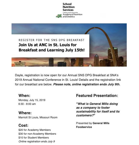 LAST DAY to register for the @SNSDPG42 Breakfast at @SchoolLunch #ANC19 in St. Louis: Meet your #SNSDPG42 friends and earn a CPE. Register NOW at https://bit.ly/2I6jr7s so you can network with Past @eatrightPRO @donnamartinrd there! @ldodson40 @SchoolMealsRock @GeneralMillsCF