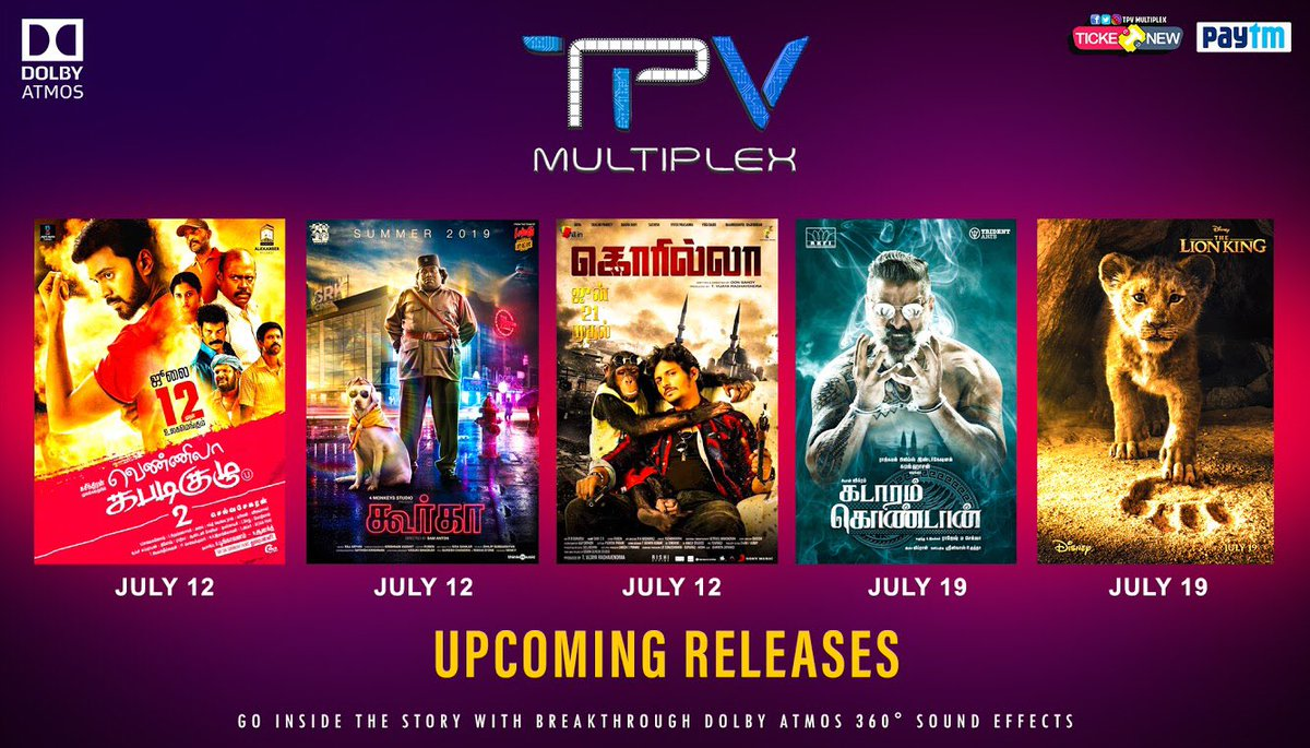 Upcoming releases at @TPVMultiplex #DolbyATMOS 😎 It is