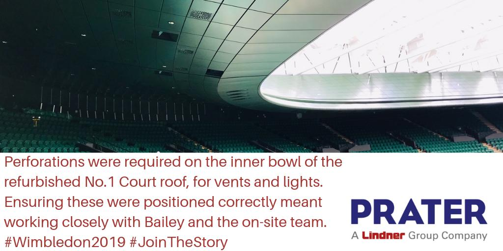 In order to effectively ensure lights and vents could be installed within the re-developed No.1 Court roof for #Wimbledon2019 our on-site team and @BaileyTBE worked closely to ensure the perforation areas met the design. #JoinTheStory