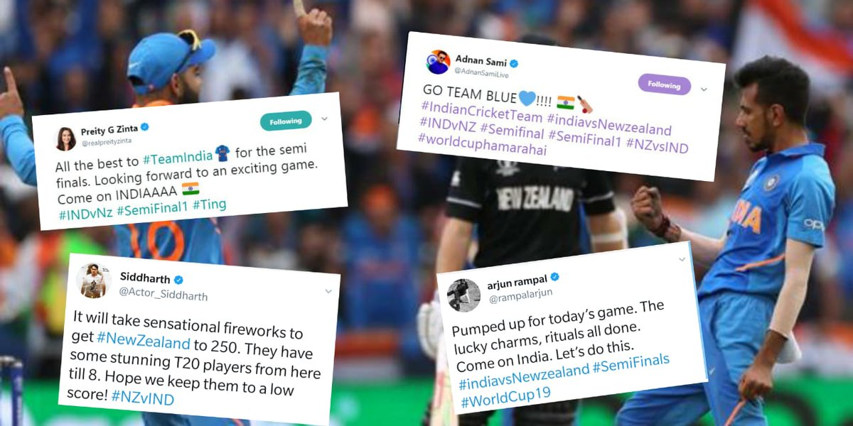 Rain might have stopped the #INDvNZ semi-final at the #CWC19 for now but it hasn't curtailed the excitement of Bollywood celebs who are cheering for the #MenInBlue #INDvNZ #NZvsIND #WorldCupsemifinal #SemiFinal1  @realpreityzinta @AdnanSamiLive @rampalarjun @Actor_Siddharth<br>http://pic.twitter.com/y2SOSfZ4Yd