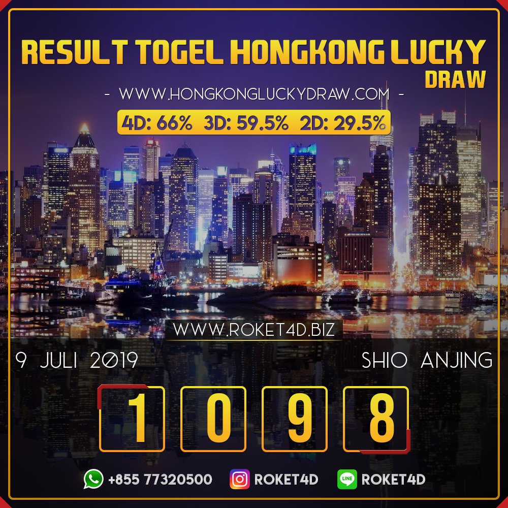 RESULT HONGKONG LUCKY DRAW POOLS SELASA 09 JULI 2019 1 0 9 8