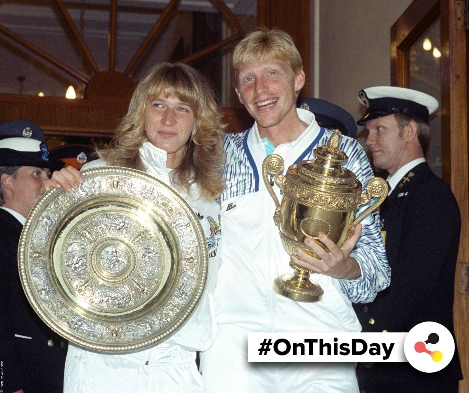 #OnThisDay in #Germany: In 1989, Steffi #Graf and Boris #Becker won the famous #tennis match in #Wimbledon. Its the only time two Germans won on the same day and is seen as one of the greatest days in the #history of German tennis. @Wimbledon #OTD #Germanhistory 🎾 🏆