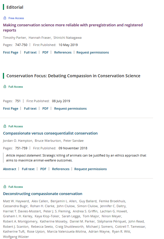 Looks like the editors at @ConBiology deserve more credit than we gave them. While I think the furor was well deserved, the actual issue 33(4) appears to do a good job debunking the cherry-picked examples and rose-tinted glasses view taken by Lynn et al. Time to dig in!