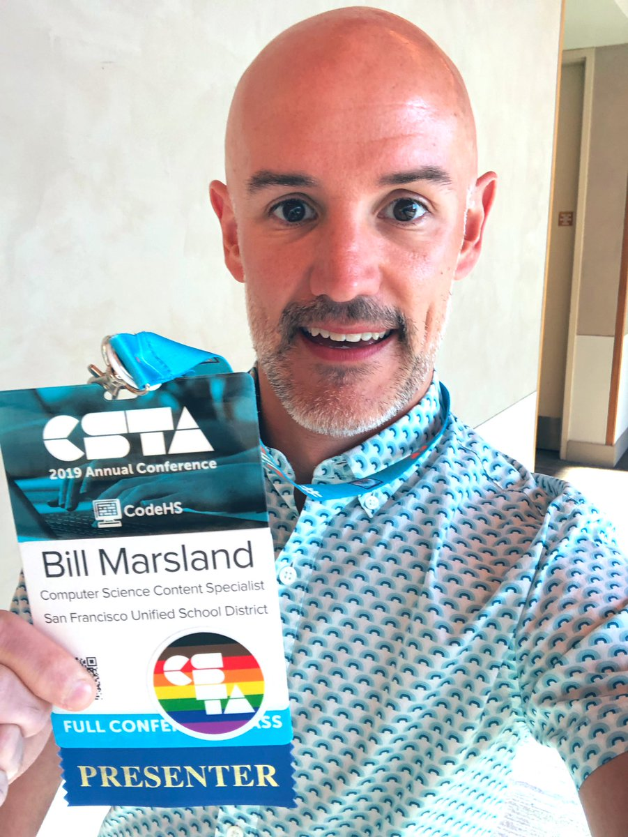 Visibility matters. Identity matters. Representation matters. Proud to have collaborated with @josephpwilson and @mrtomocon to create 🌈CSTA Pride stickers for #CSTA2019. If you identify as #LGBTQ or an ally, find one of us to get a sticker for your name badge or laptop! 🏳️🌈 https://t.co/UtuHYicXnA
