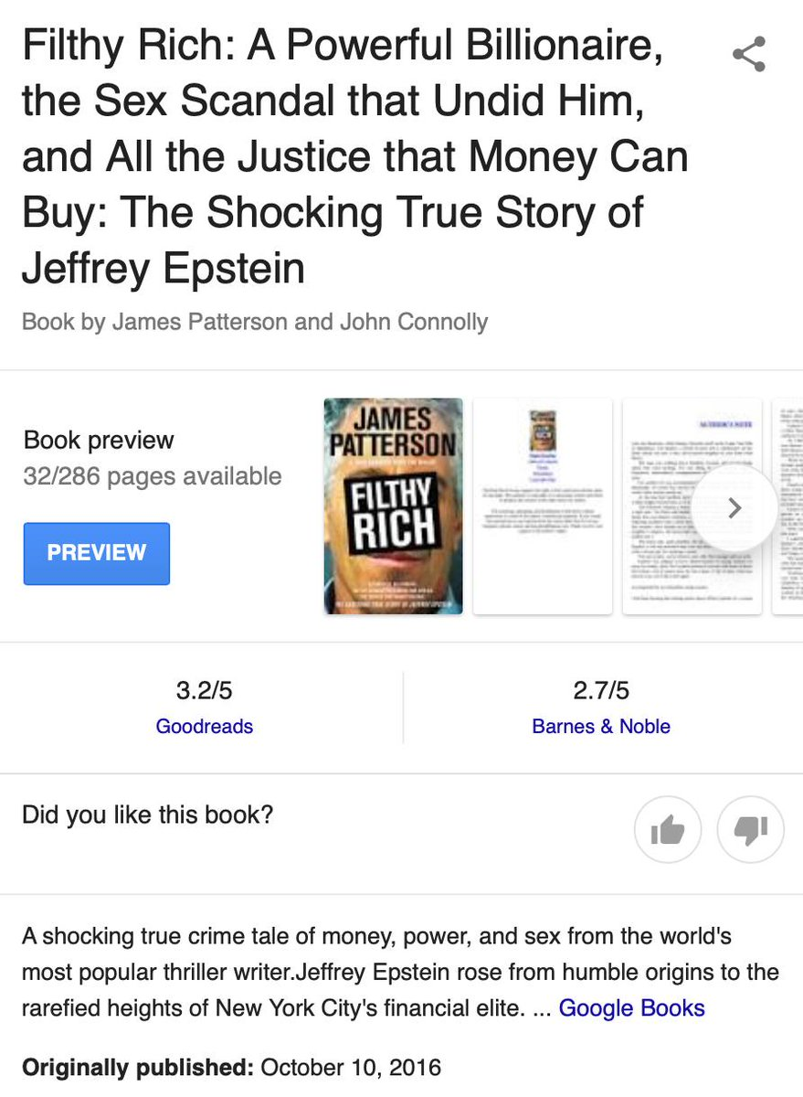 james patterson book about epstein