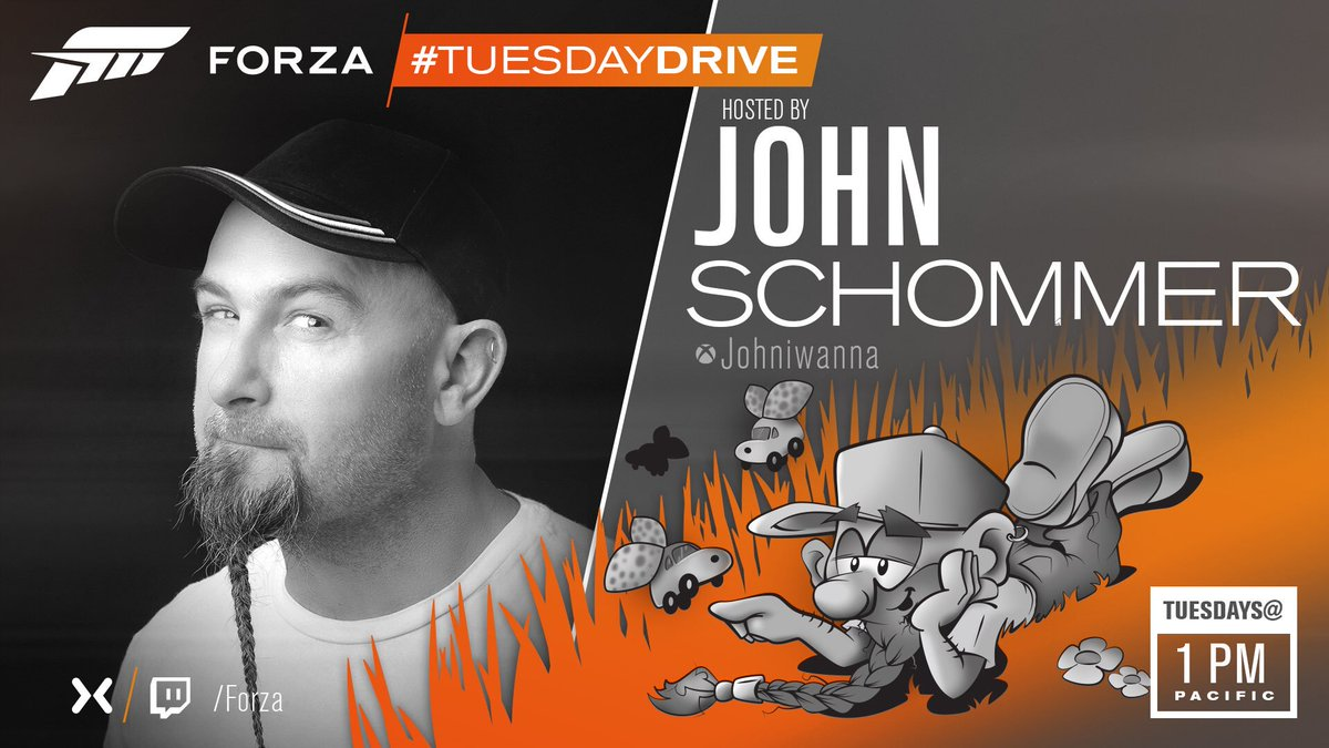 Coming up later today we have the #TuesdayDrive with the one and only Mr @johniwanna. Make sure you dont miss the show by setting your alarms to 1pm Pacific/9pm UK and heading on over to mixer.com/forza