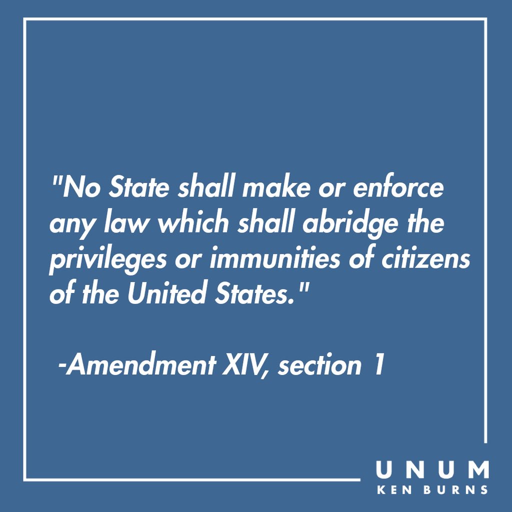 Ratified on #onthisday in 1868, the 14th Amendment granted citizenship to all people born in the US (incl formerly enslaved people). It is also the basis for landmark #SCOTUS rulings like BROWN v. BOARD and OBERGEFELL v. HODGES, the 2015 decision which legalized gay marriage.