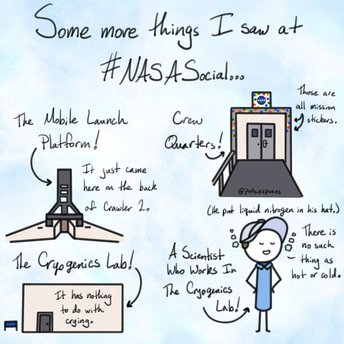 The mobile launcher, crew quarters, and cryogenics lab—oh my! Some more things from #NASASocial, featuring a scientist who really did put liquid nitrogen in his hat...then put it on his head. 😱 #ThereIsNoSuchThingAsHotOrCold @NASASocial