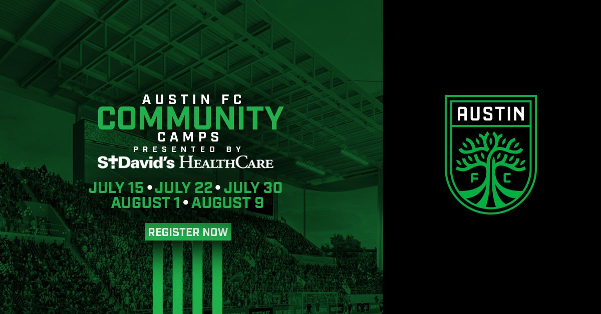 The first 5⃣ of 🔟 Austin FC and @StDavidsHC free community soccer camps are taking place in July and August 2019. We welcome boys and girls, ages 5–14, to join us for an opportunity to learn ⚽️ skills from top-level coaches.  Visit📲🖥️ https://austinfc.com/camps for all the details