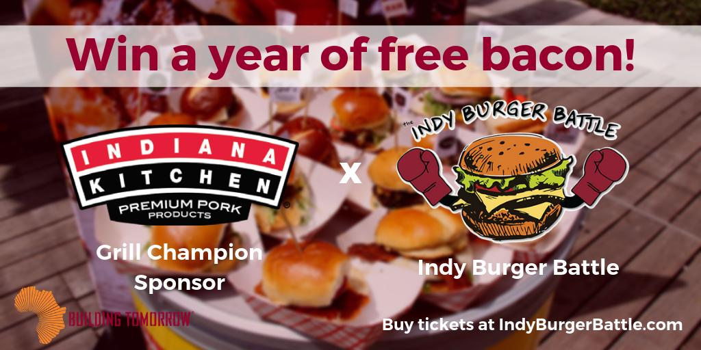 Want to win a year of free bacon? Be sure to enter our raffle at the #IndyBurgerBattle where this will be one of the prizes! A big thank you to @indiana_kitchen for being the Grill Champion Sponsor of this year's event and for donating a year of bacon! https://t.co/3vW3AZM2So