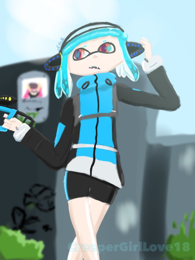 Okay I couldn't resist drawing @Alexis_Pflaum 's Splatoon  3 Agent 7 so decided to do it in a new style. My cod she's hecking cute <br>http://pic.twitter.com/CnHypE61Nv