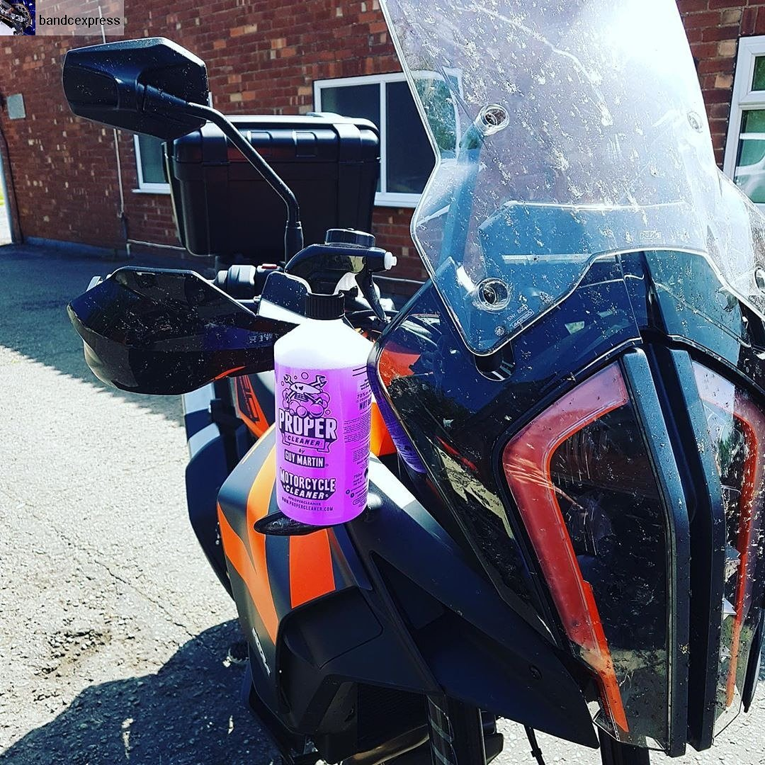 """The folks at @BandCExpress, who distribute our motorcycle cleaner, needed some help to shift some dried on bugs after a long spin!  """"There's definitely going to be some need of @ProperCleaner by Guy Martin this weekend!"""" #sunsoutbikesout #weekendrides #GuyMartin #Propercleaner"""