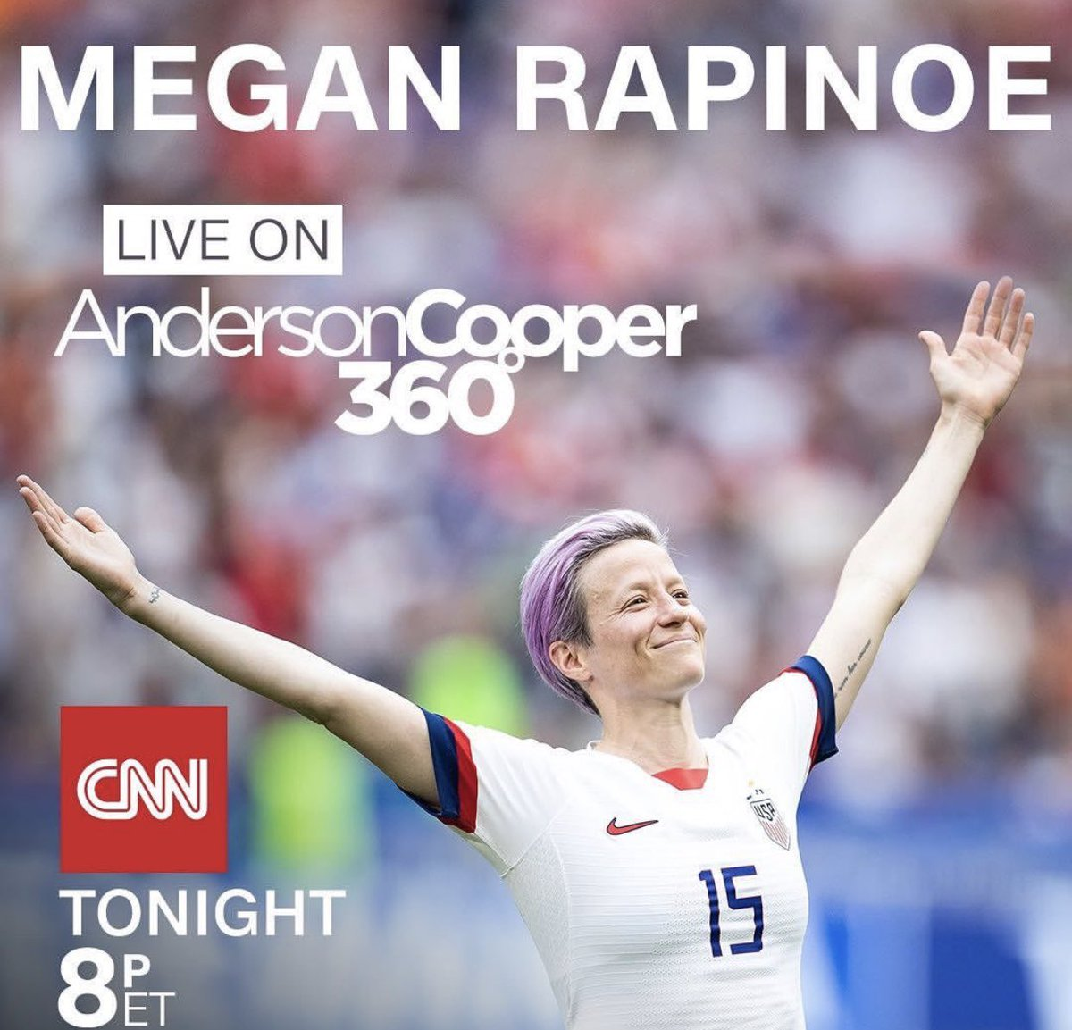excited to interview #MeganRapinoe  live tonight on @AC360  8pm. what questions would you ask her?