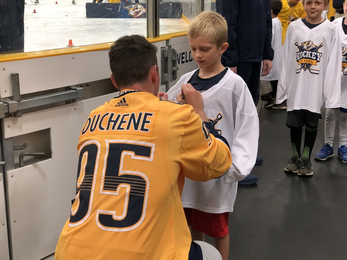 Press conference: ✅ Visit kids in @FordIceCenter Hockey School: ✅ #Preds | @Matt9Duchene