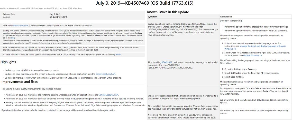 📢⚙️July 9, 2019 #MSFT #CumulativeUpdate #KB4507469 for Windows 10