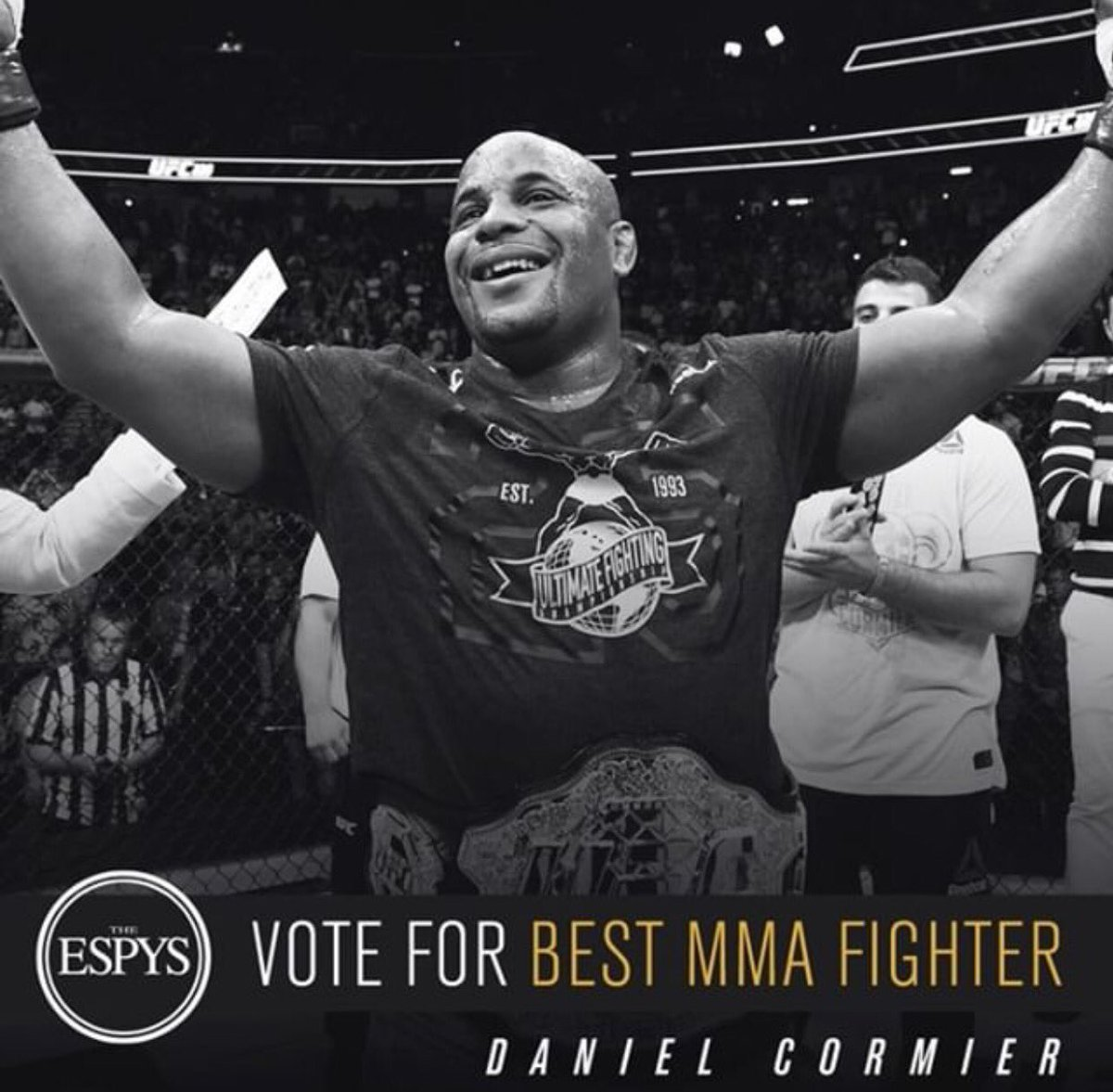 Last day to vote for the Fighter of the year at the espys. Last year was a big one for me. 3 title fights, 3 finishes across 2 weight divisions. I've won Fighter of the year across the board. Let's end it with the big one! Please vote. DC