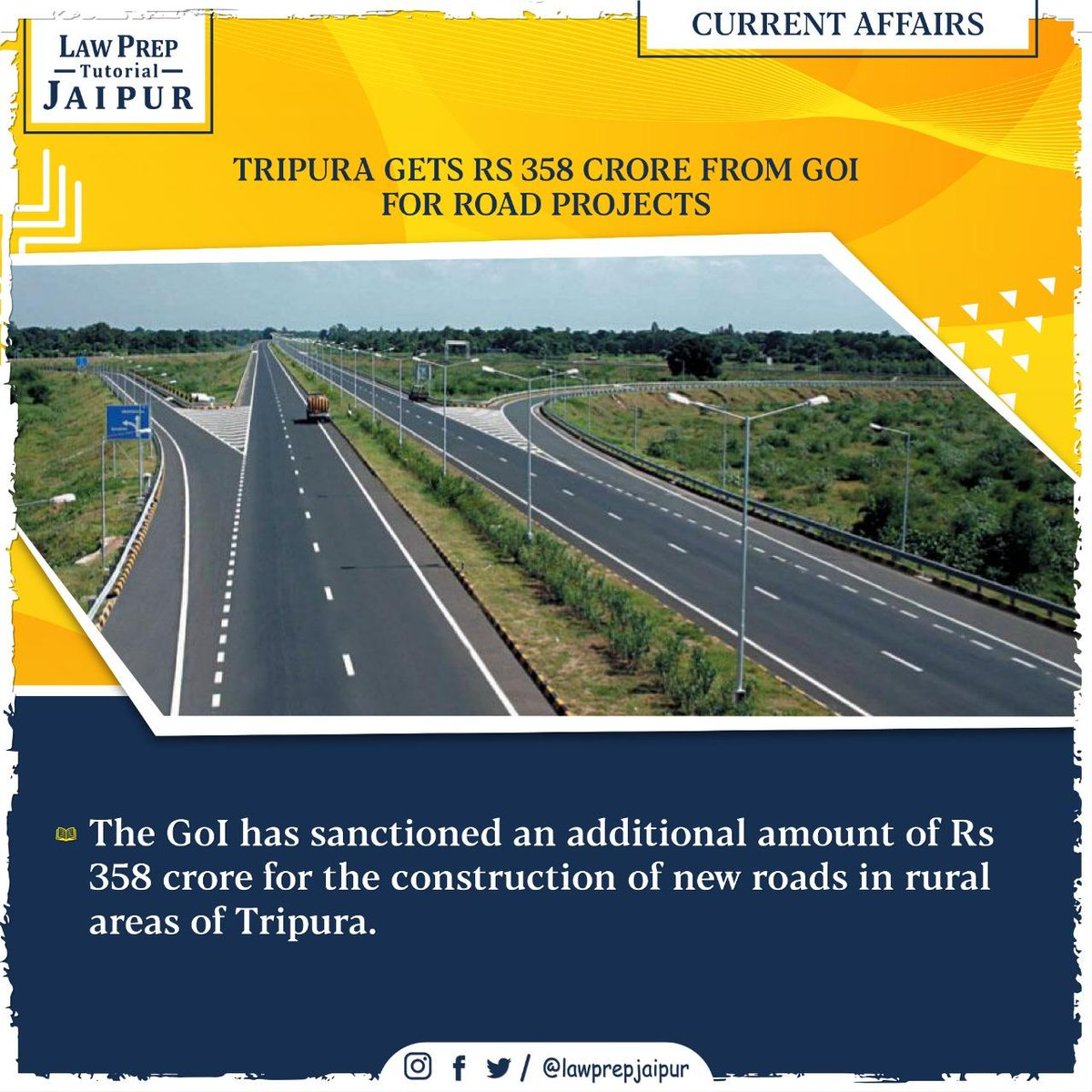 Stay connected for more such Current Affairs.  #Gk #CLATGK #CLAT2020 #CLATQuestions #currentaffairs #LegalGk #Tripura #TripuraRoadProjects