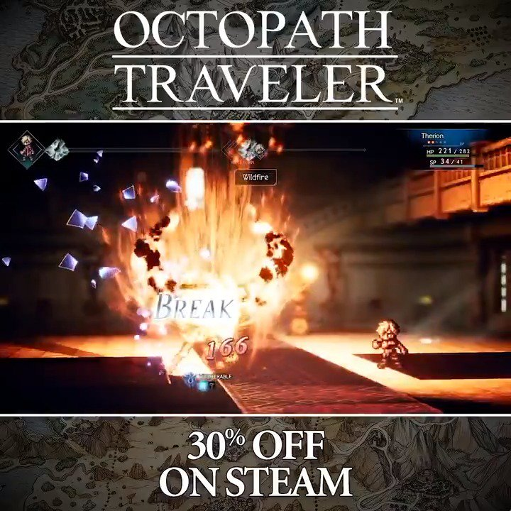 Eight travelers. Eight adventures. Eight roles to play. Which path will you take? #OctopathTraveler is currently 30% off on Steam until July 24th! 👉sqex.link/Octo_Path_Steam