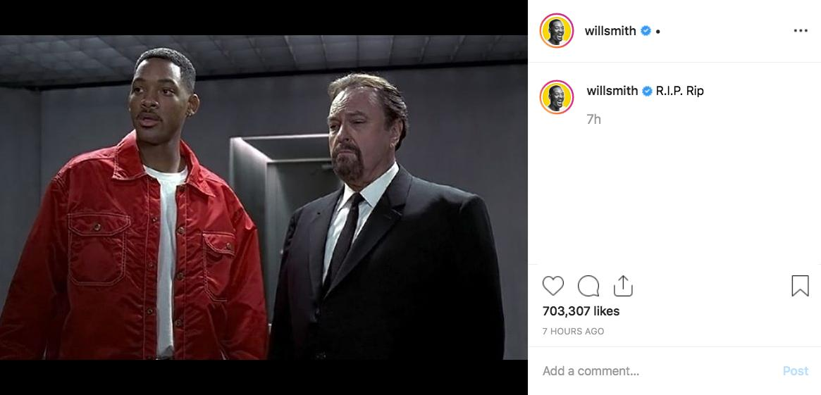 Will Smith pays tribute to 'Men In Black,' 'Dodgeball,' and 'Larry Sanders Show' star Rip Torn, who just passed away at 88 (via willsmith | Instagram)