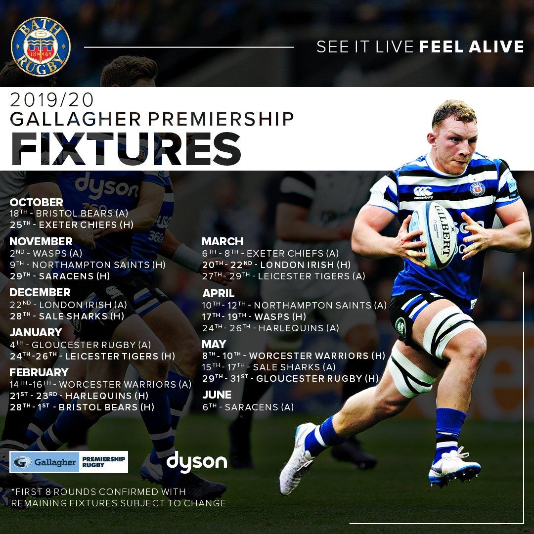 Bath Rugby 2019/20 Premiership Fixtures