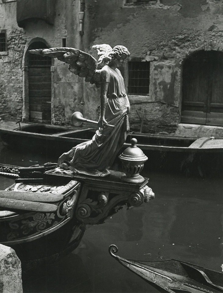 The Angel of Death, sculpture of a funeral gondola, Venice