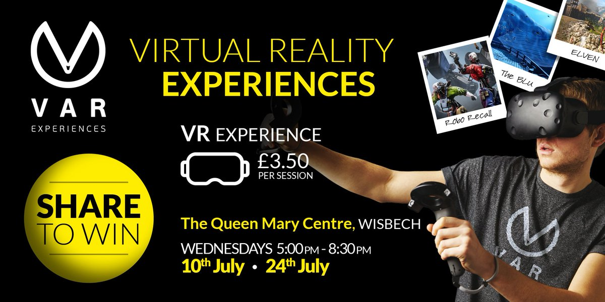 RETWEET THIS POST for a chance to WIN 2 free game slots with us tonight at the @QMC_Wisbech !   #VAR_Club #VR #VirtualReality #VirtualRealityGames #VirtualRealityExperiences #Win #ShareToWin #Gamer #ThingstodoinWisbech #FamilyFun