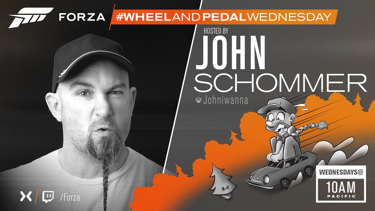 Heads up Forza fans, coming at you later today is the next installment of #WheelandPedalWednesday hosted by our very own @johniwanna. Show starts at 10am Pacific/6pm UK and we really hope you can make it & join us in the chat on the stream! Watch it here - mixer.com/forza