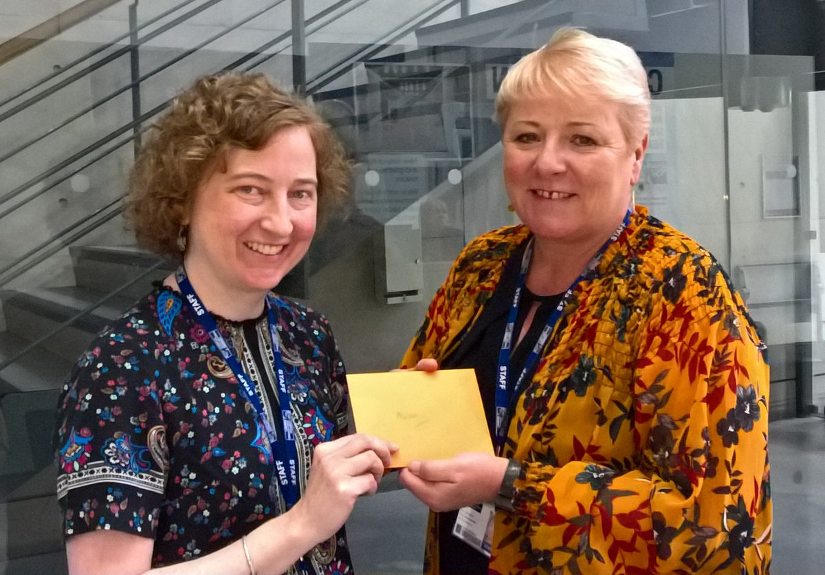 Here is our Library Challenge Thursday winner! #LJMUTLC19 Professor Alison Cotgrave (right), Associate Dean (QAE) for FET, answered all 10 questions correctly & was presented with a £25 Amazon voucher by Pauline Smith (left), Academic Liaison Librarian. Enjoy your prize! @LJMUTLA