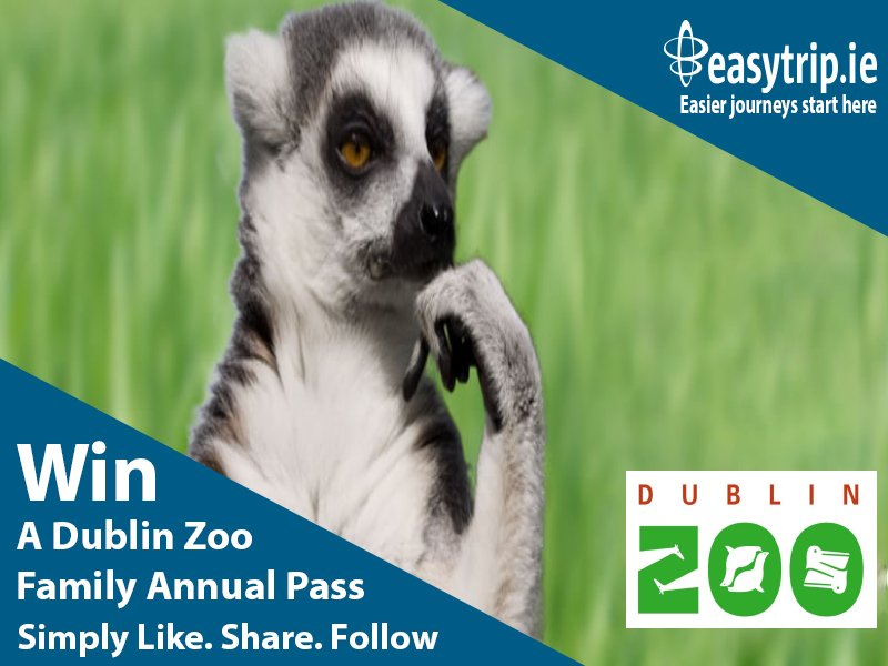 To be in with a chance of WINNING a @DublinZoo Family Annual Pass.  Simply like, share & follow our pages. Winner will be announced on Wednesday 31st July. Best of luck everyone:-)  #win #giveaway #easytrip #summer #dublinzoo