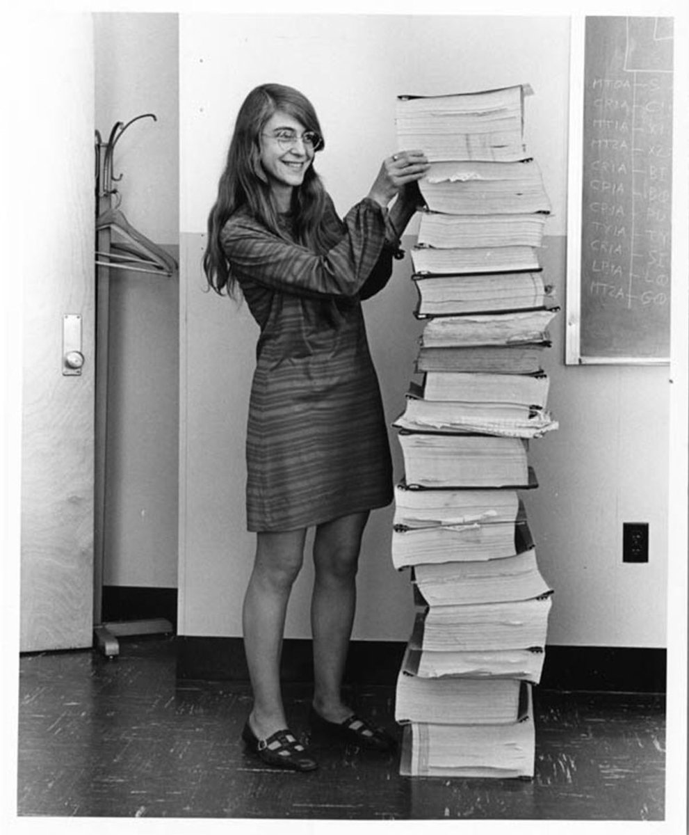 Who's this young woman and how did she help #apollo11 astronauts land on this moon? (Hint: it has to do with that stack next to her...) @HarrySmith shares her story on the @TODAYshow this morning - around 8:10aish! 🤗
