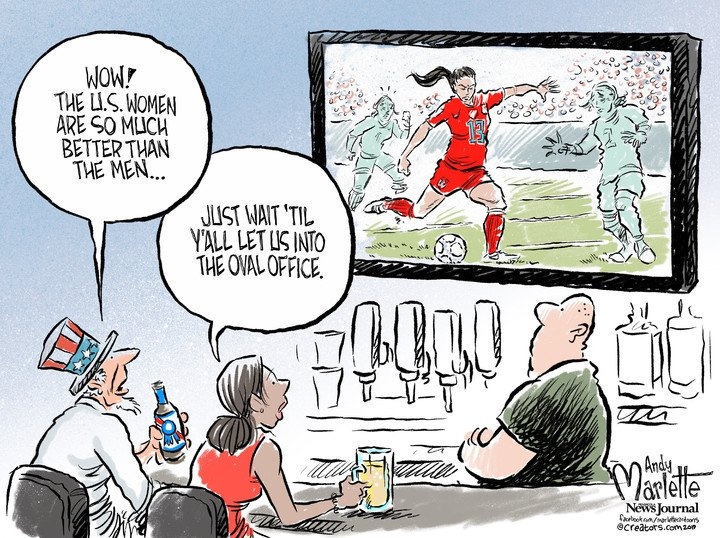 This cartoon by @AndyMarlette.#USWNTParade