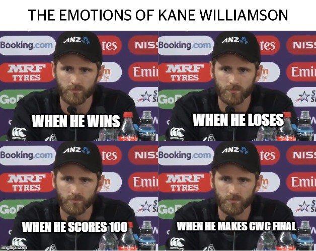 The many emotions of Kane Williamson.  #CalmUnderPressure #NZvIND #IndiavsNewZealand #CWC19 <br>http://pic.twitter.com/QB8JgBp7ct