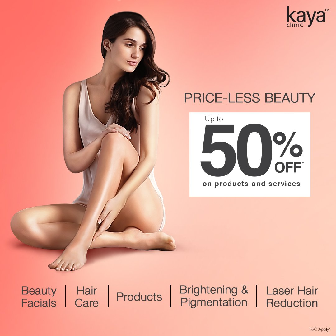 This monsoon, it's raining offers at Kaya - your one stop destination for all hair & skin concerns! Why wait? Visit your nearest Kaya clinic and avail upto 50% off on products & services! T&C*  #Kaya #KayaClinic #KayaIndia #SkinDoctor #Dermatologists #SkinCare #HairCare https://t.co/AsecvKiXIC
