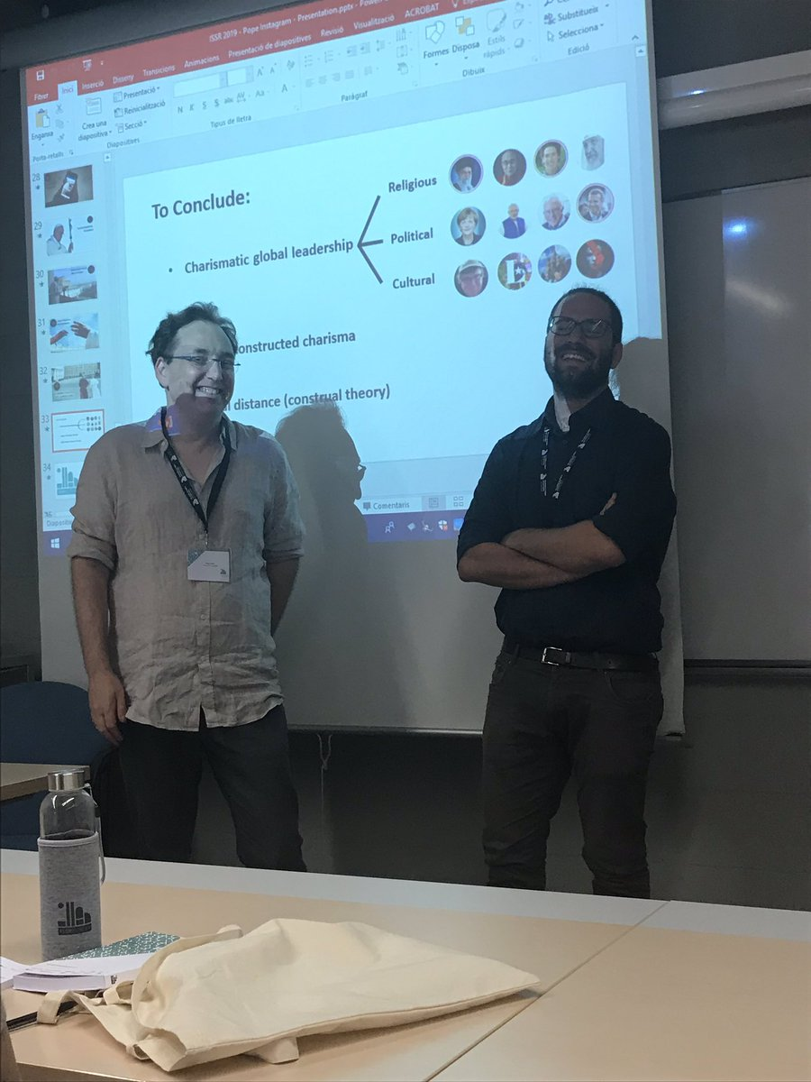 @isor_uab #issr2019 # wonderful paper by star sociologists Oren Golan and Michele Martini depicting the management of Pope Francis' Instagram presence. Serious research; hot-button theoretical framework (construal theory). https://t.co/YoDe2KE2ji