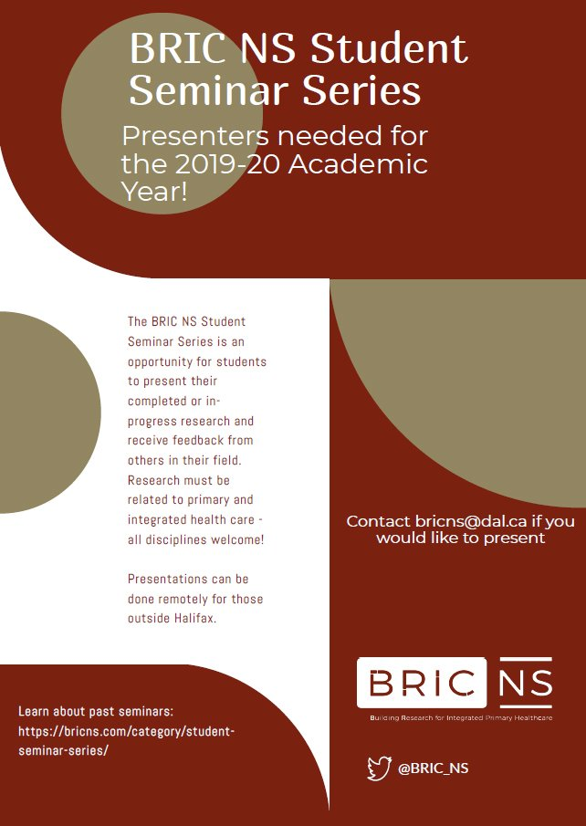 .@BRIC_NS is looking for speakers for their #NS Student Seminar Series. This is a great opportunity for students to share their research, network, and get feedback! Interested to know more? Contact bricns@dal.ca or check out past presentations  https:// bricns.com/category/stude nt-seminar-series/  … <br>http://pic.twitter.com/pMe7Qb7iBN