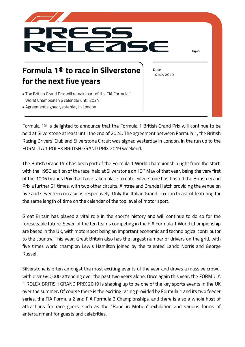 Press release - Formula 1® to race in Silverstone for the next five years #F1 #BritishGP