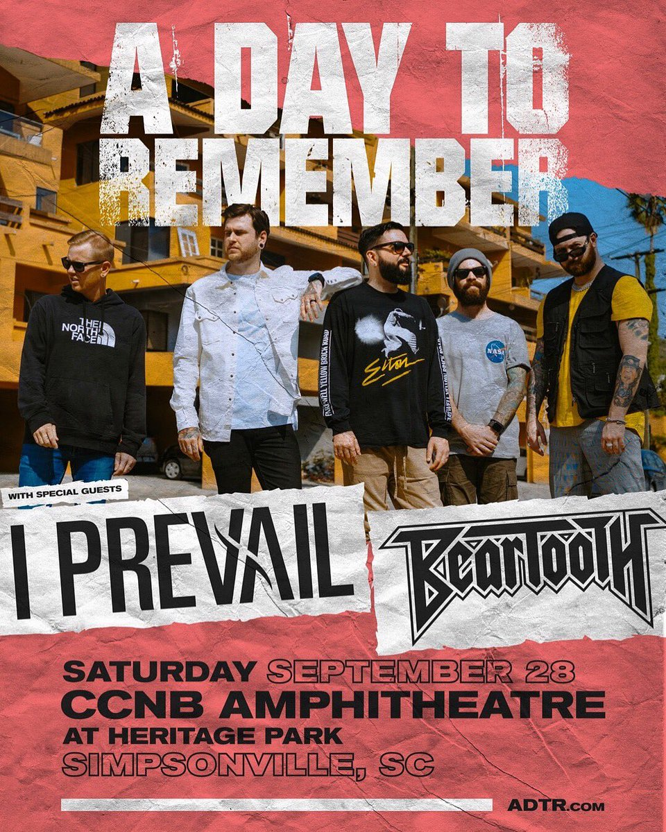 So stoked to announce we will be supporting @ADTR in South Carolina this September. Can't wait for this one!! This show is gonna go off🤘 🎟 - http://adtr.com