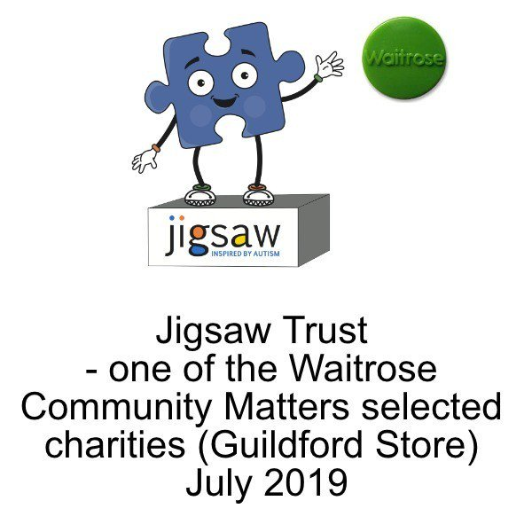 Thank you to @Waitrose (Guildford) for selecting Jigsaw as one of its 'Community Matters' charities for July giving shoppers the opportunity to promote the work we do supporting children and adults diagnosed with autism here in Surrey. http://wu.to/9p5X4u